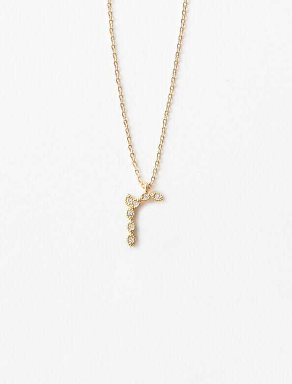 Rhinestone R necklace : Jewelry color Gold