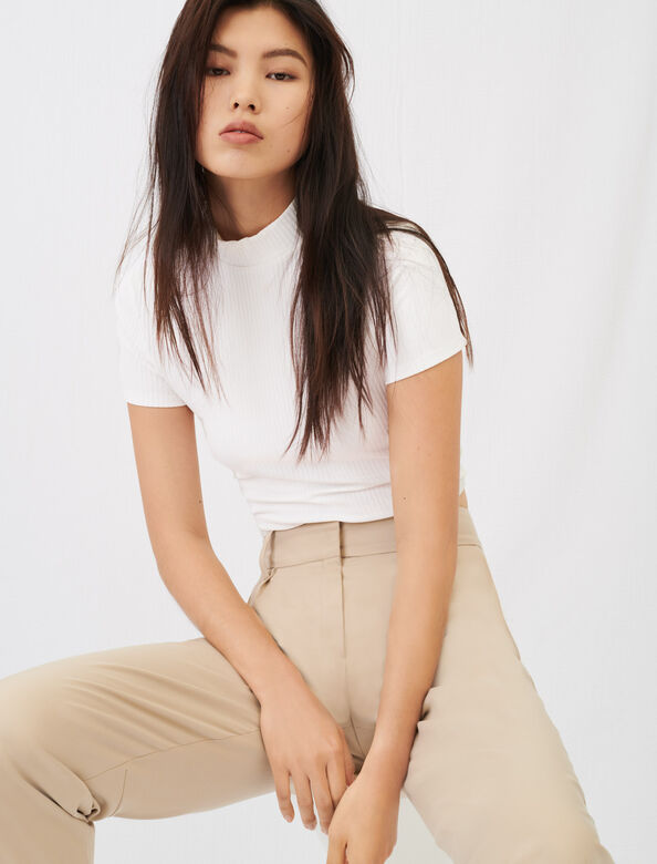 Tie-back ribbed T-shirt : T-Shirts color White
