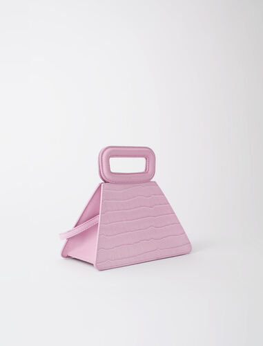Pyramid bag with embossed leather handle : View All color Ecru
