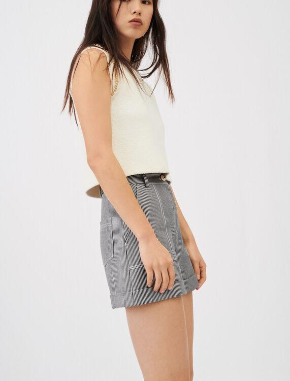 Oshkosh stripe shorts with topstitching - null - MAJE