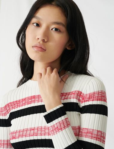 Striped ribbed knit jumper : Sweaters color Ecru