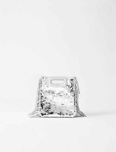 Sequinned leather mini M bag with chain : M Mini color Silver