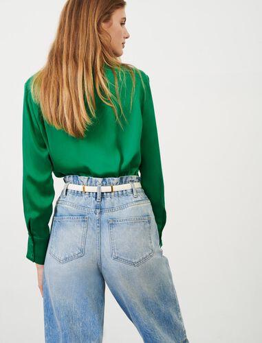 纯色桑蚕丝长袖衬衫 : null 顏色 绿色/GREEN