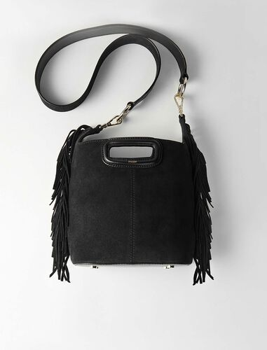 Suede fringe M bucket bag : M Bag color Black