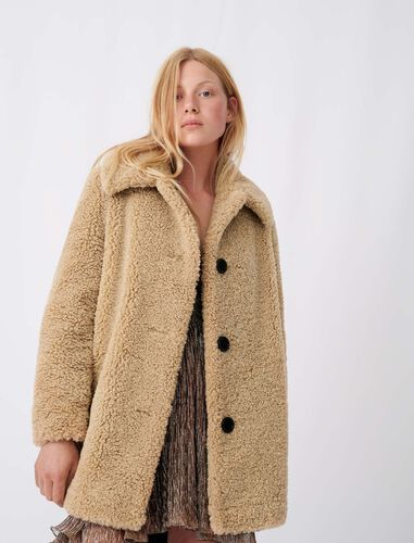 Fur-effect coat : Coats & Jackets color Camel