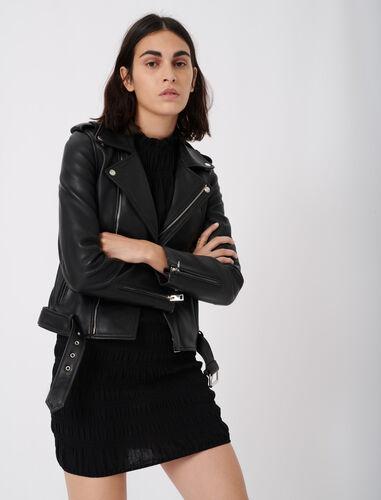 小羊皮机车夹克 : Tops 顏色 黑色/BLACK