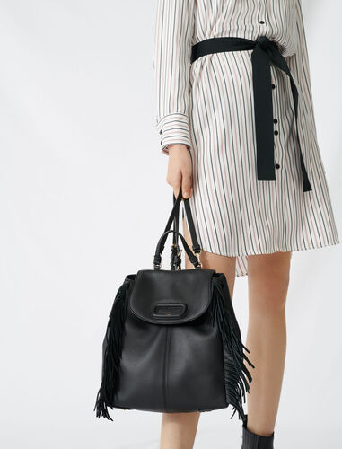 Leather M backpack with chain : M Back color Black