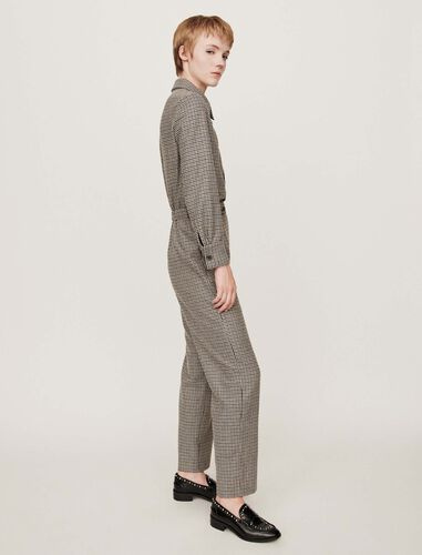 Checkered jumpsuit : Trousers color Grey