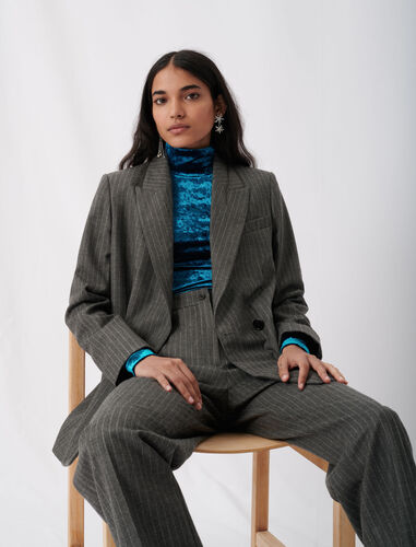 Suit jacket with tennis stripes : Blazers color Grey