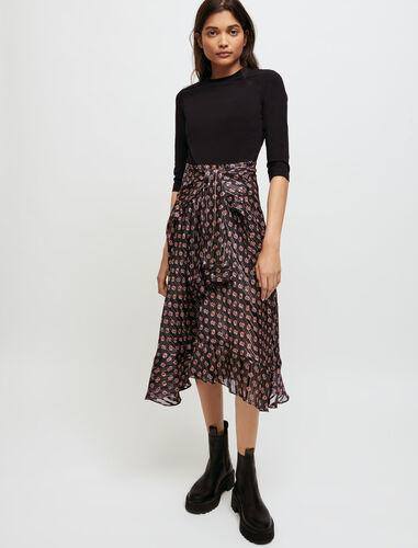 Trompe l'œil printed dress : Dresses color Little Black M Monogramme