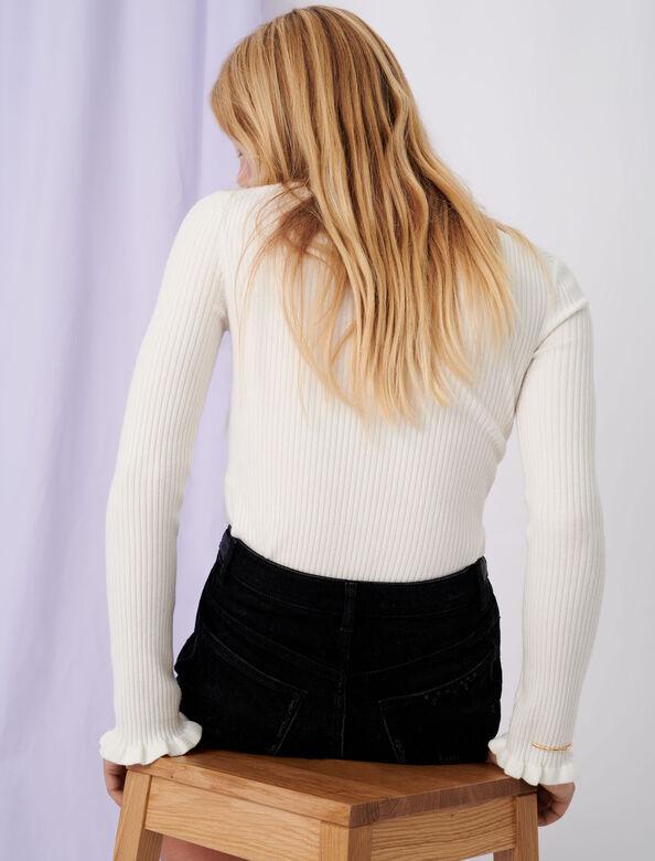 Fancy high-neck lightweight sweater : Sweaters color Ecru