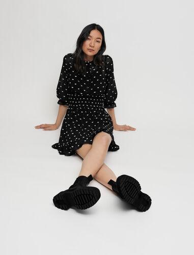 Short bow jacquard dress : Dresses color Black
