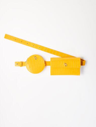 Embossed leather purse belt : Shoulder bags color Ecru