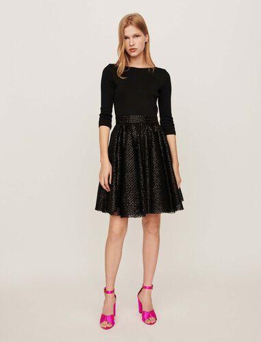 Jersey and strass skater dress : Dresses color Black