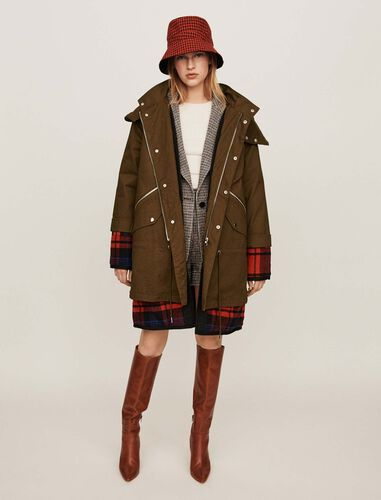 Trompe-l'oeil parka with oversized hood : Overcoat color Khaki