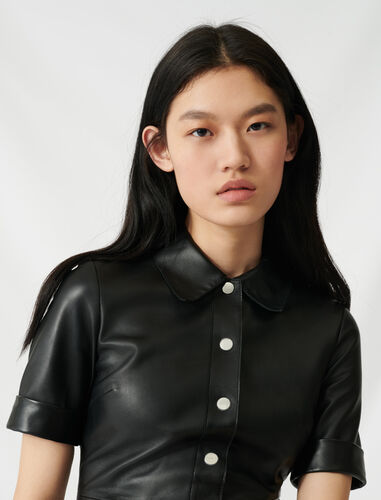 Buttoned leather shirt dress : Dresses color Black