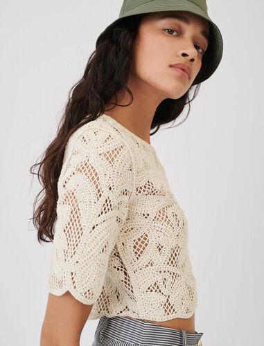 镂空花边针织T恤 : 上衣 顏色 米黄色/BEIGE