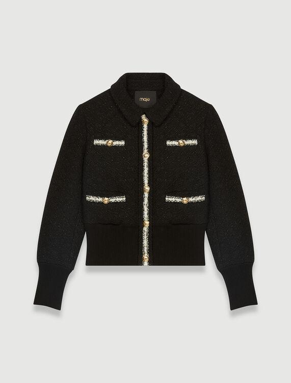 Contrasting tweed-style jacket : Coats & Jackets color Black