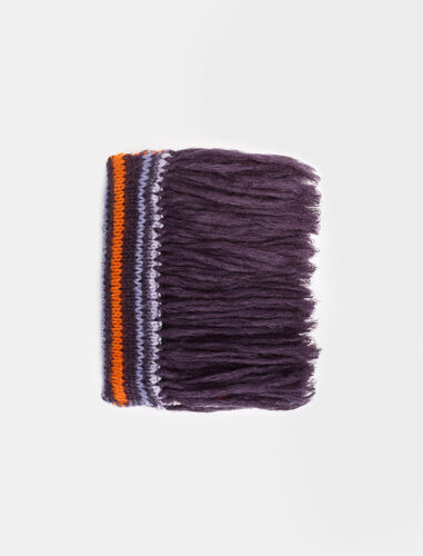 Long, striped knitted scarf : Scarves and shawls color Purple