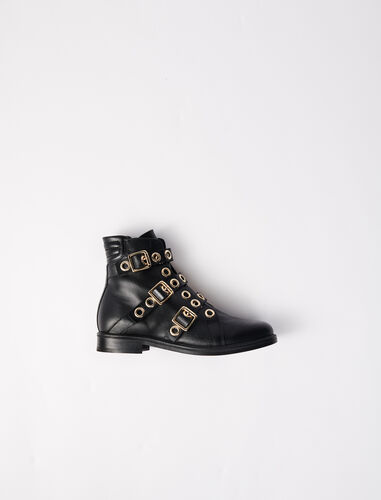 Multi-strap flat boots with eyelets : Boots & Flat shoes color Black