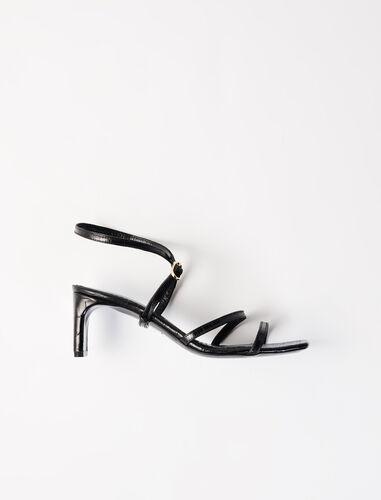 Embossed leather midi-heeled mules : Sling-back & Sandals color Black
