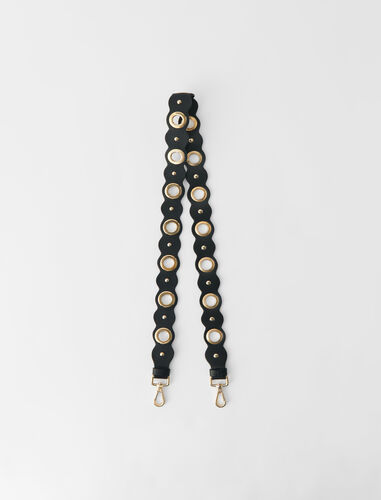 Leather strap with eyelets and studs : Other accessories color Black
