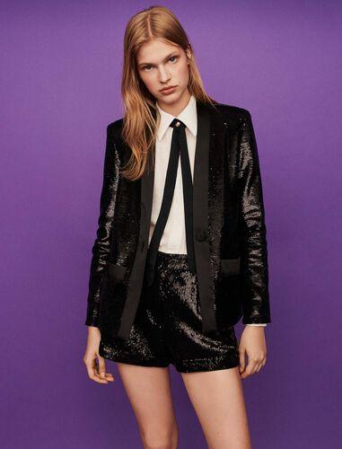 Sequin and satin jacket : Blazers color Black