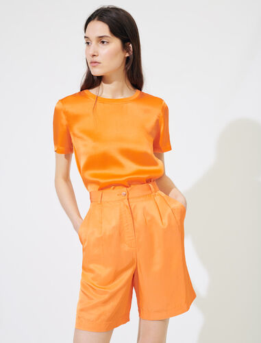 Satiny flared shorts : Shorts color Orange