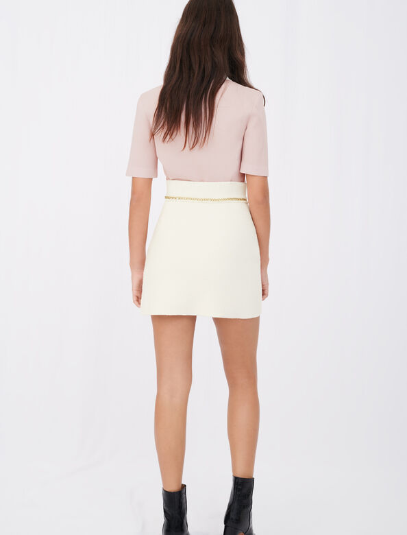 Straight skirt in tweed with chains : Skirts color Ecru