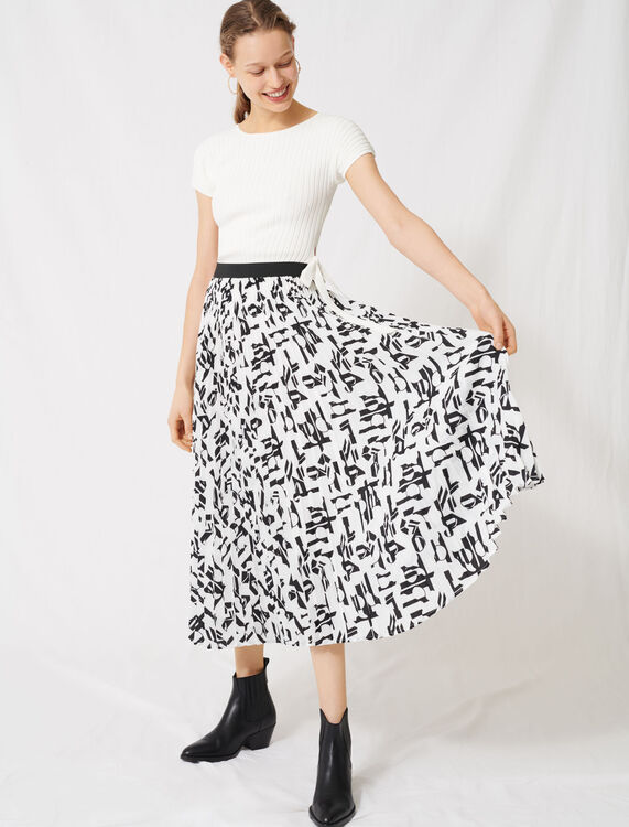 Pleated skirt with an arty print : Skirts color White / Black