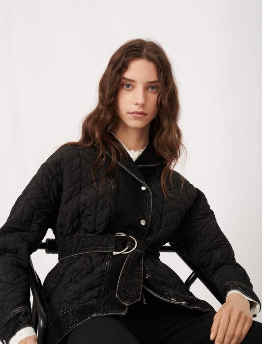 Mixed material down jacket : Coats & Jackets color Black