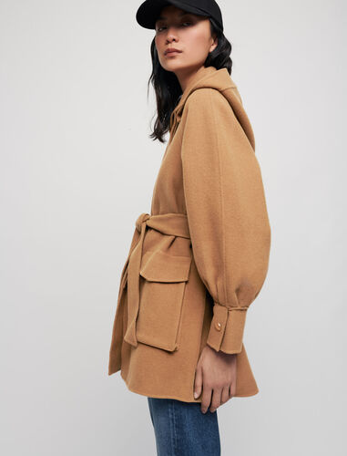 Double-faced wool blend belted coat : Coats & Jackets color Tobacco