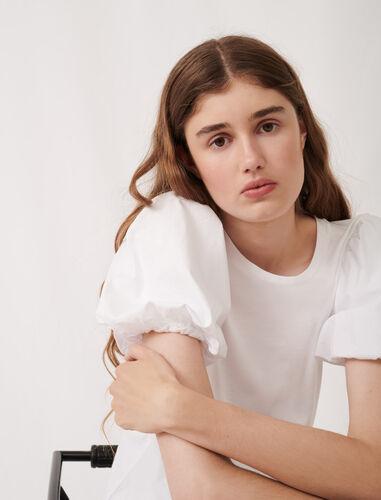 圆领泡泡袖纯色T恤 : null 顏色 白色/WHITE