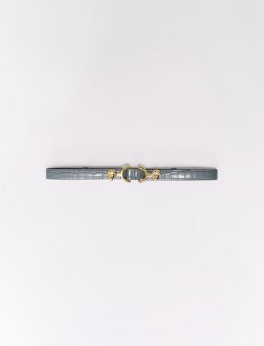 Embossed leather and lion horsebit belt : Belts color Grey