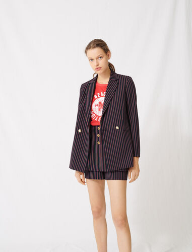 Striped double-breasted jacket : Coats & Jackets color Navy