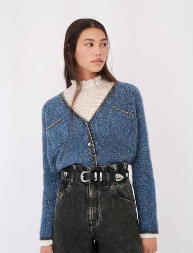 Lurex cardigan with chain details : Cardigans color Blue