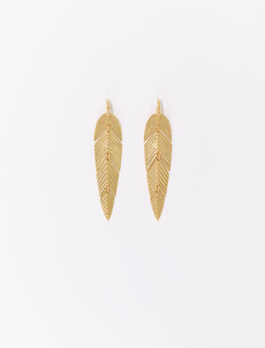 Feather drop earrings : Jewelry color Gold