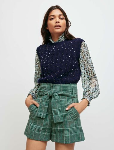 Belted, checked shorts : Skirts & Shorts color Green