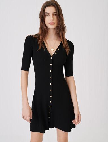 短款针织连衣裙 : 连衣裙 顏色 黑色/BLACK
