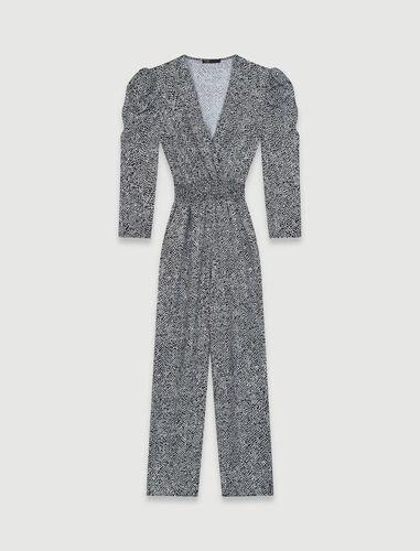Flowing animal print jumpsuit : Jumpshort & Jumpsuits color Black / White