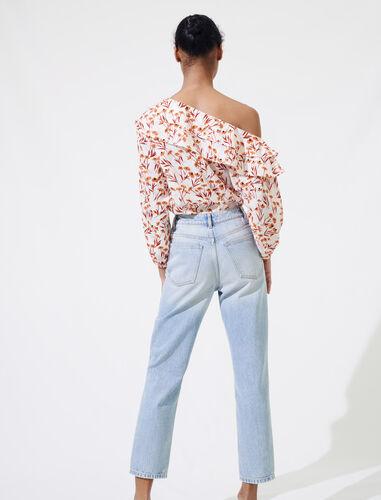 Floral top with drop shoulders : Tops color Terracota