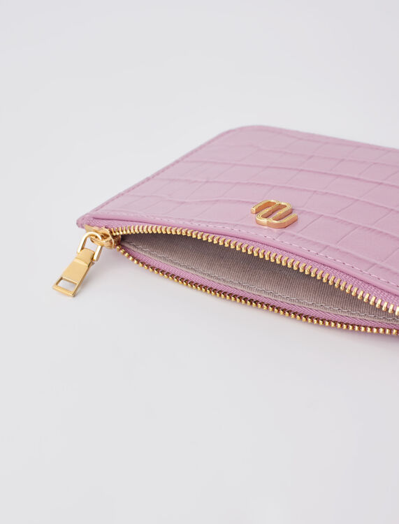 Zip-up embossed leather pouch - Other Accessories - MAJE