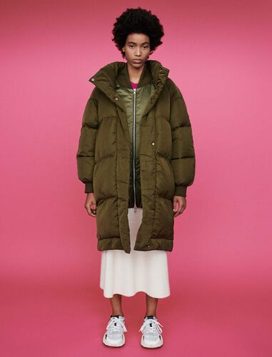 Quilted puffer with stand-up collar : Overcoat color Khaki