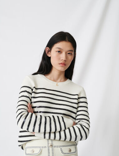 Breton jumper with sequins : Tops color Ecru