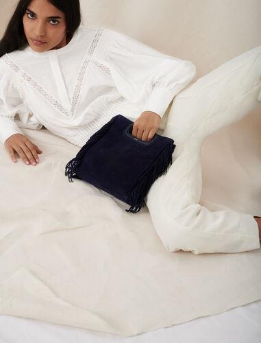 Suede M bag : M Bag color Navy