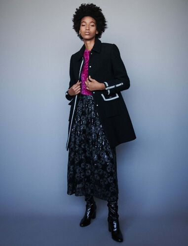 Tweed-style contrast coat : Overcoat color Black