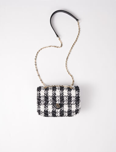 Small bag with contrasting tweed flap : Shoulder bags color Black / White