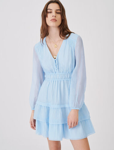 Crinkle-effect voile dress with ruffles : Dresses color Light Blue