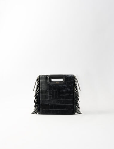 Crocodile-effect leather Mini M bag : M Mini color Black