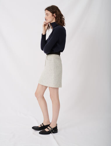 Tweed-style skirt with contrast details : Skirts color Gris/Blanc